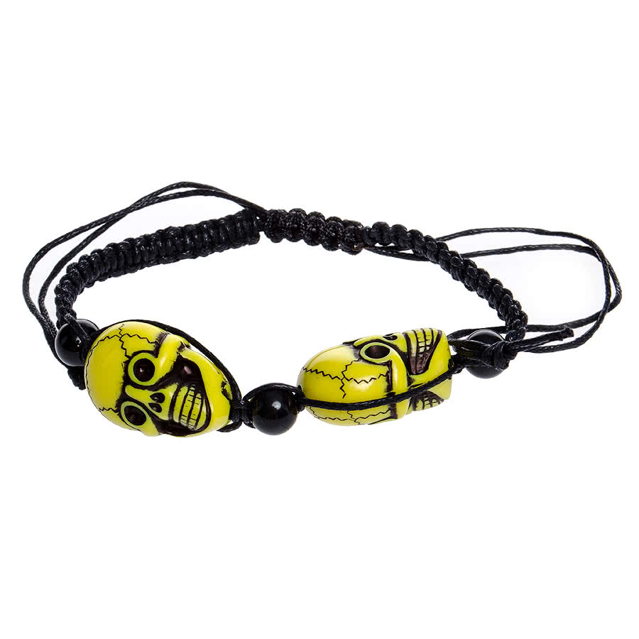 Blue Banana 2 Skulls Bracelet (Yellow)