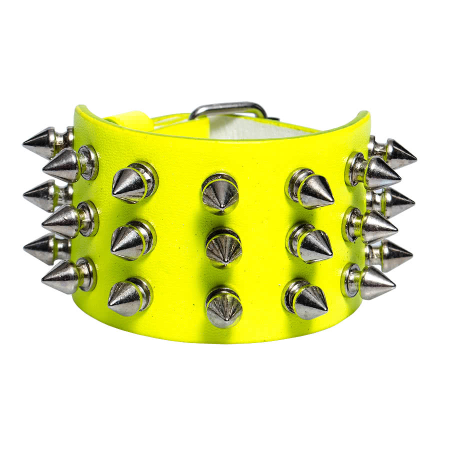 Blue Banana 3 Row Small Spikes Studded Wristband (Yellow)