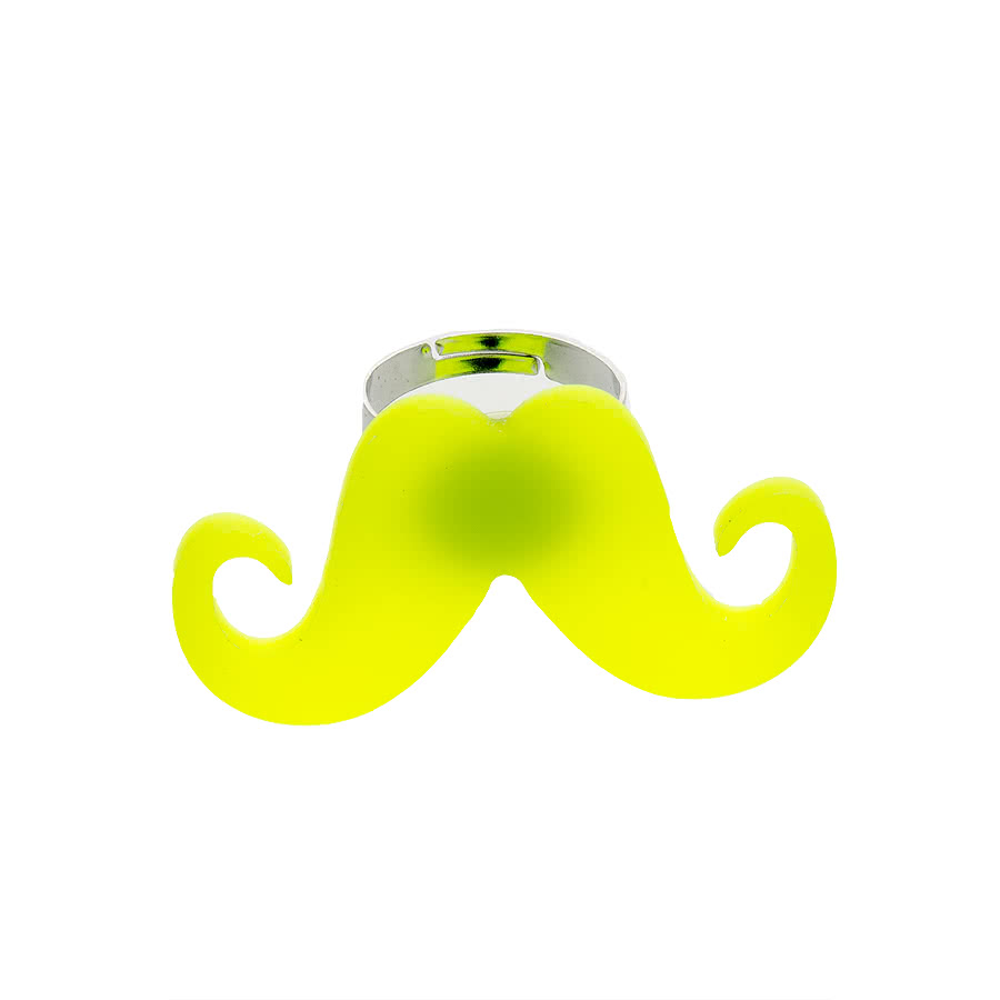 Blue Banana Moustache Ring (Yellow)
