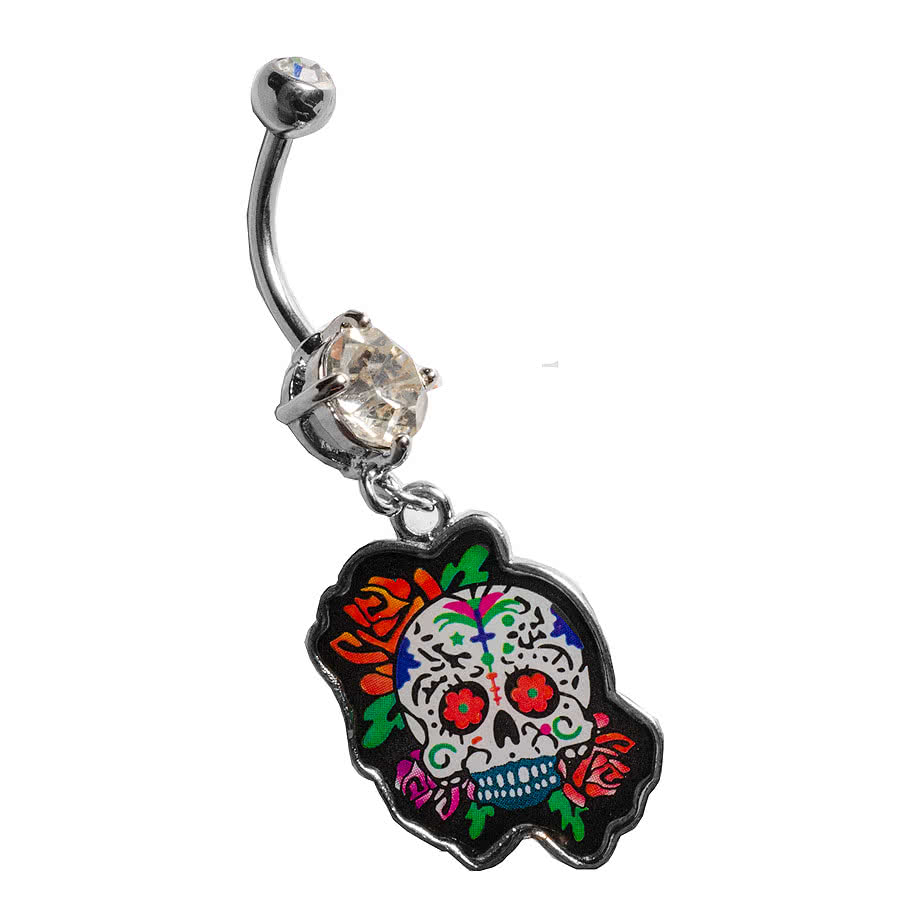 Blue Banana Skull Rose 1.6mm Navel Bar (Red)