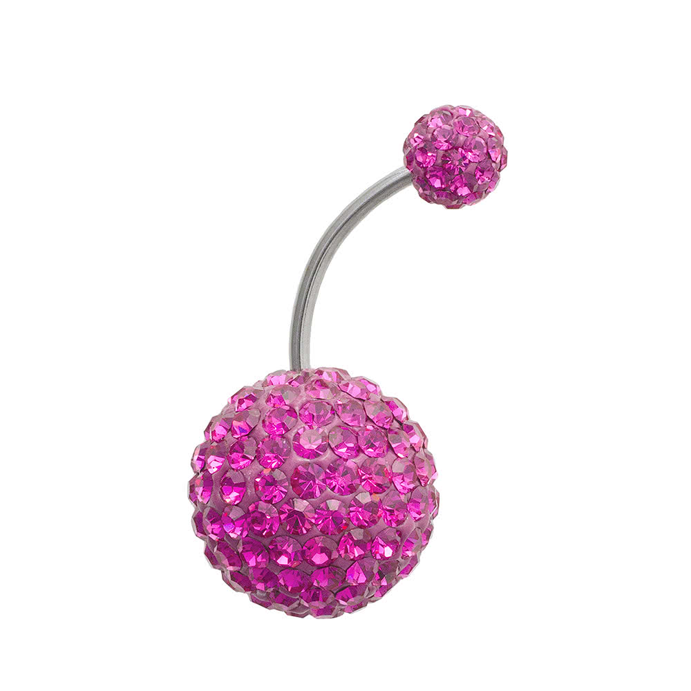 Blue Banana Large Glitter Ball Navel Bar (Amethyst)
