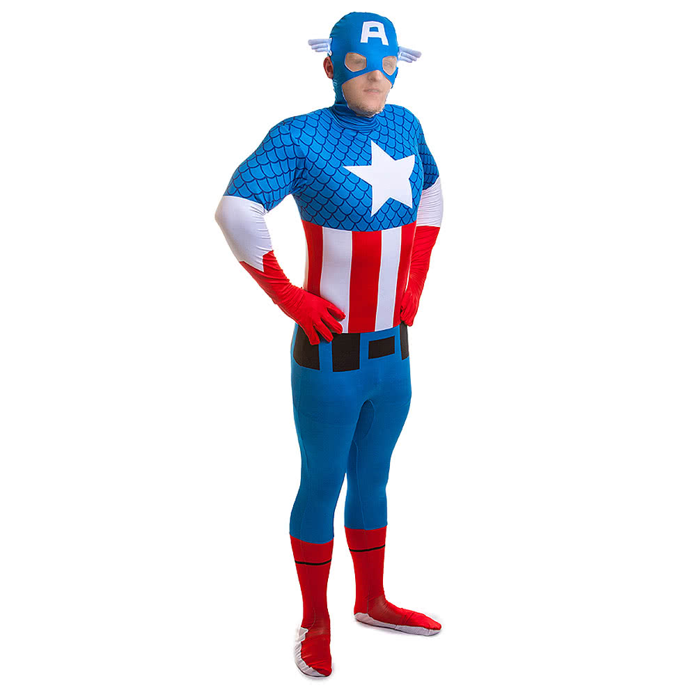Rubies 2nd Skin Captain America Jumpsuit (Blue/Red/White)