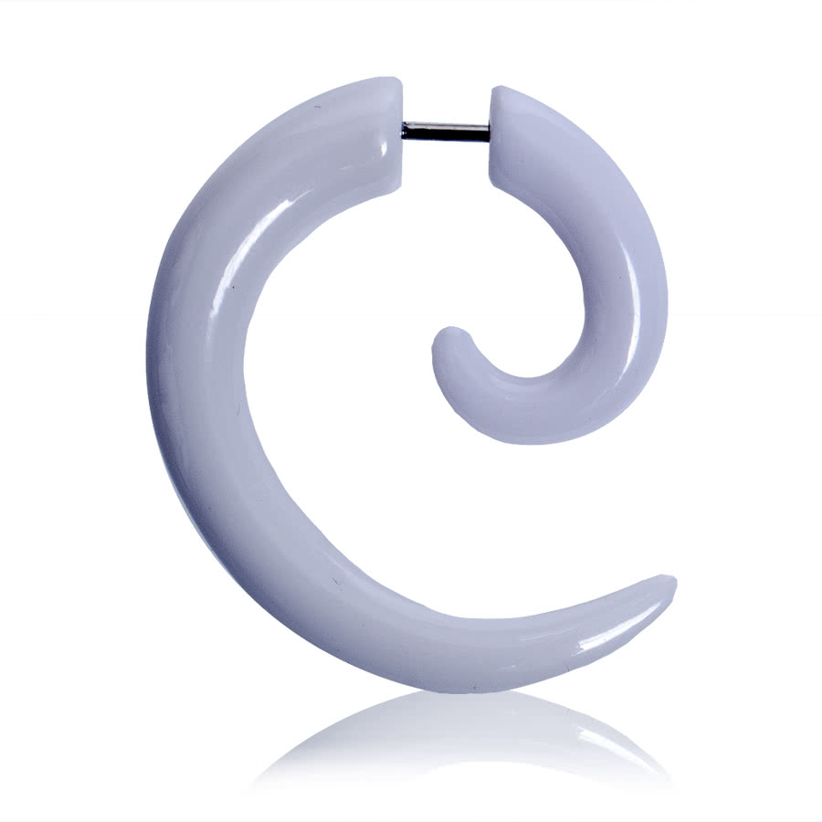 Blue Banana Spiral Fake Ear Stretcher (White)