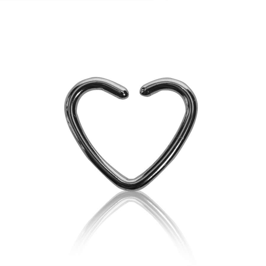 Steel 1.2mm x 10mm Daith Heart Ring  (Silver)
