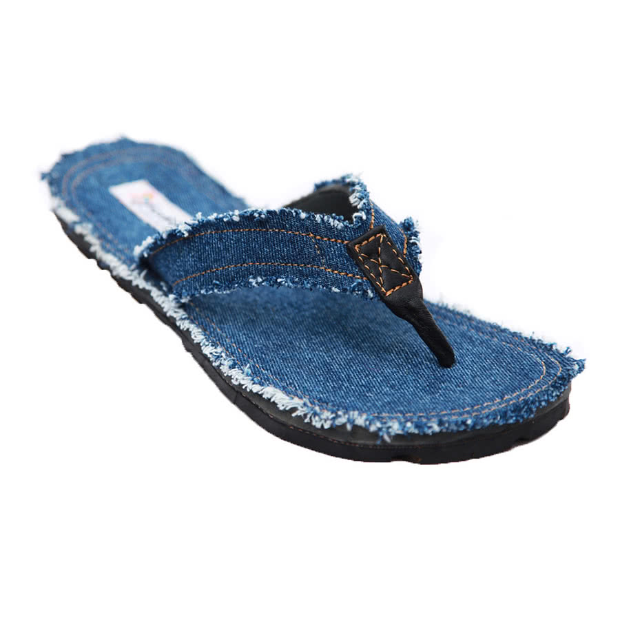 Maasai Treads Men's Flip Flops (Blue Denim)