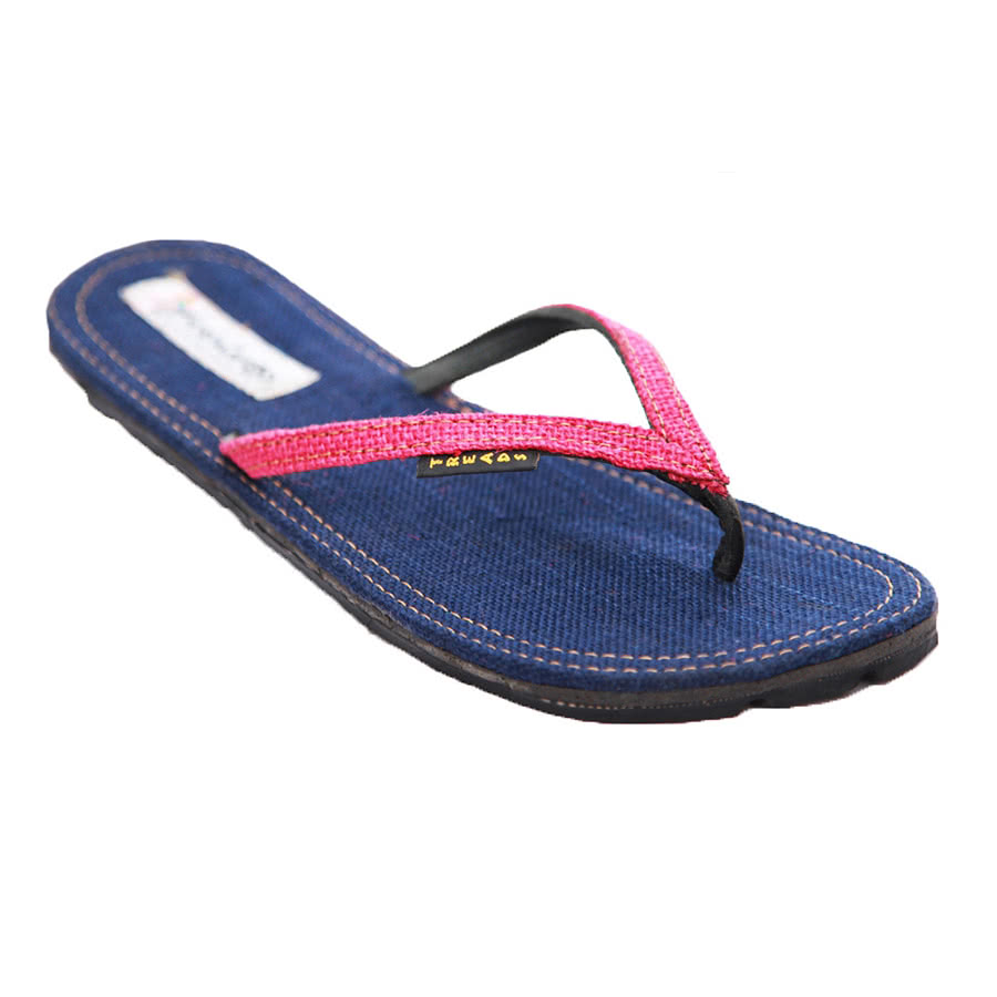 Maasai Treads Ladies Flip Flops (Navy/Pink)