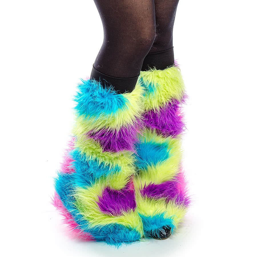 Blue Banana Rainbow Rave Legwarmers (Multi-Coloured)