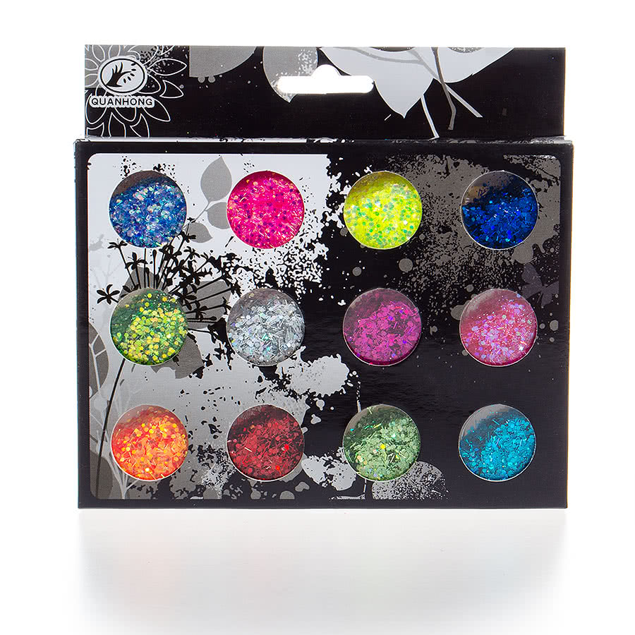 Blue Banana 12PC Nail Art Large Glitter Kit