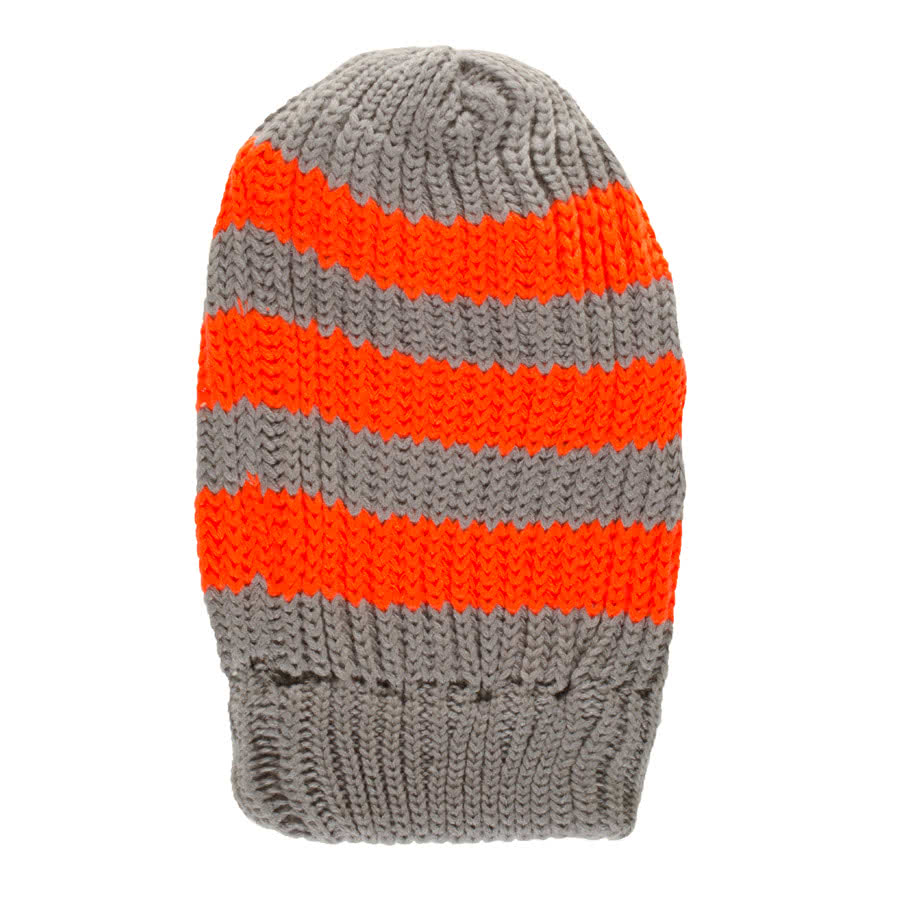 Blue Banana Stripe Beanie (Grey/Neon Orange)