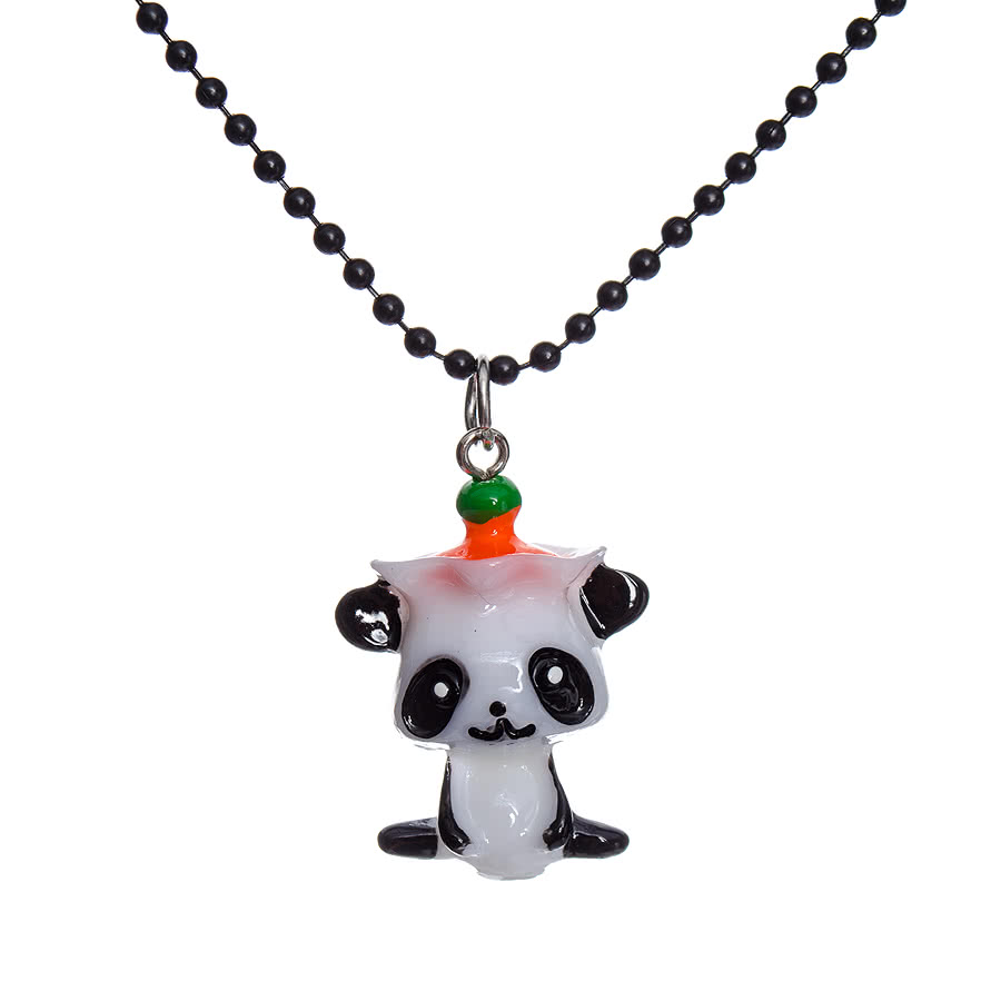 Blue Banana Orange Top Panda Necklace (Multi Coloured)