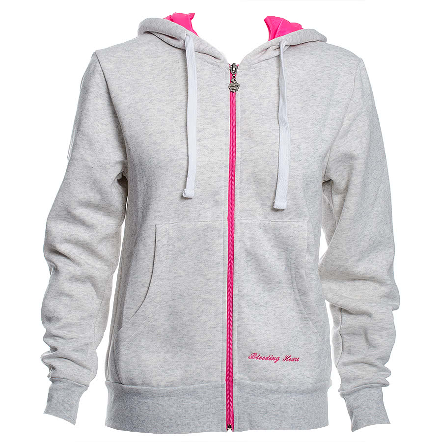 Bleeding Heart Hoodie Skinny Fit (Light Grey/Pink)