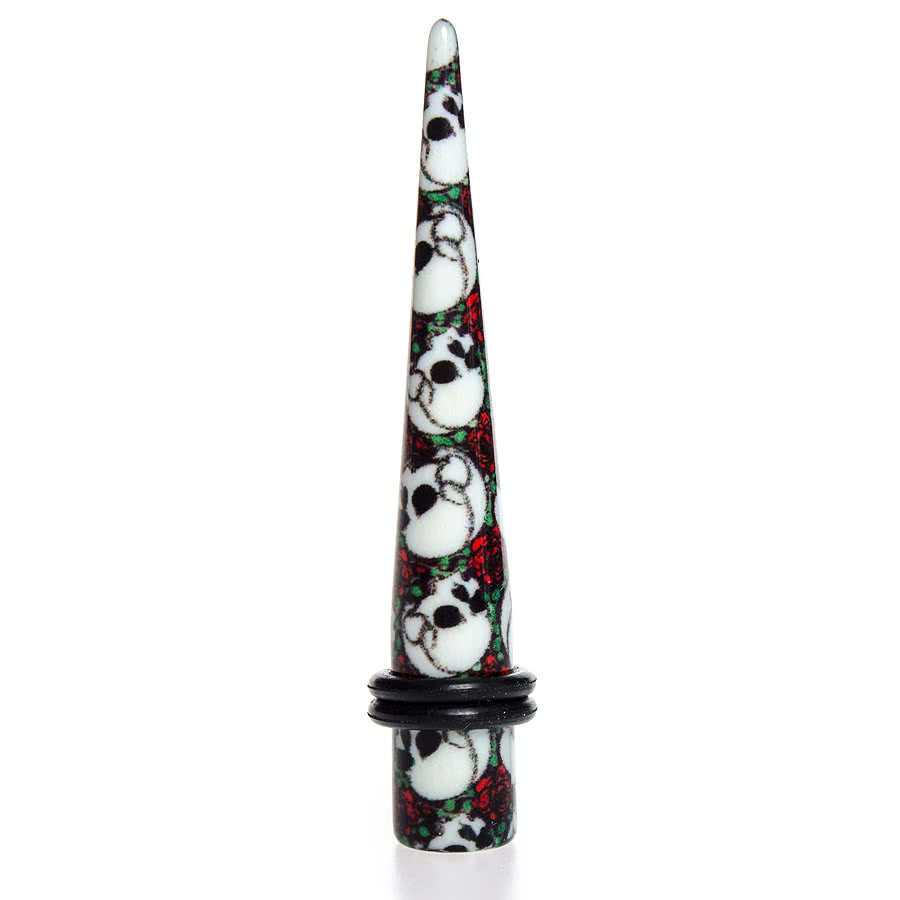 Blue Banana Skull & Roses Stretcher (Green/White/Red)