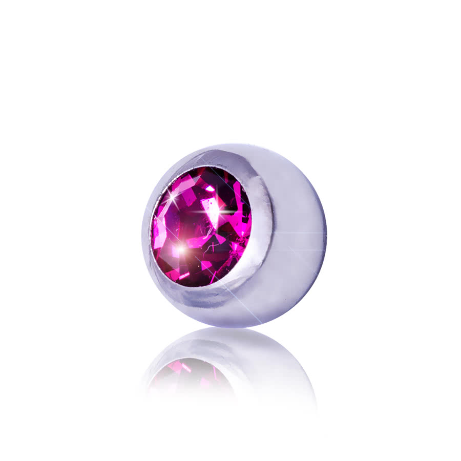 Blue Banana Steel 3mm Jewelled Ball (Fuchsia)