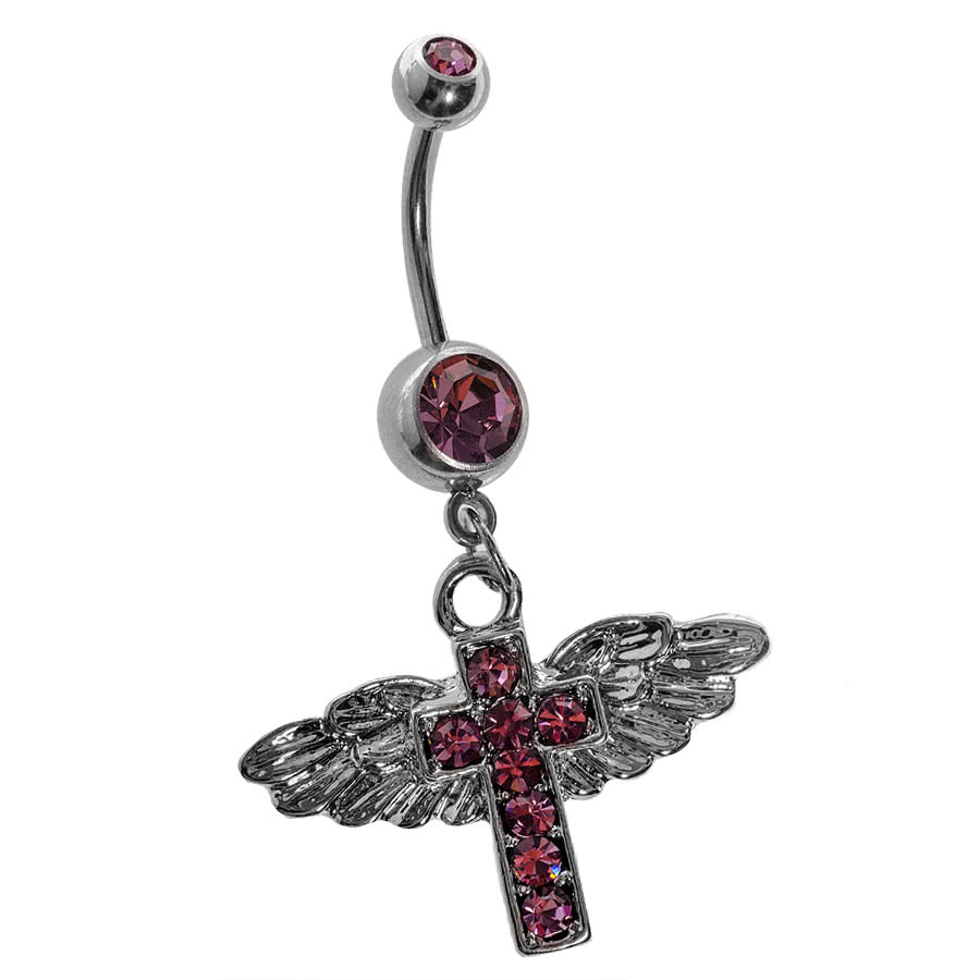 Blue Banana Wings & Cross 1.6mm Navel Bar (Baby Pink)