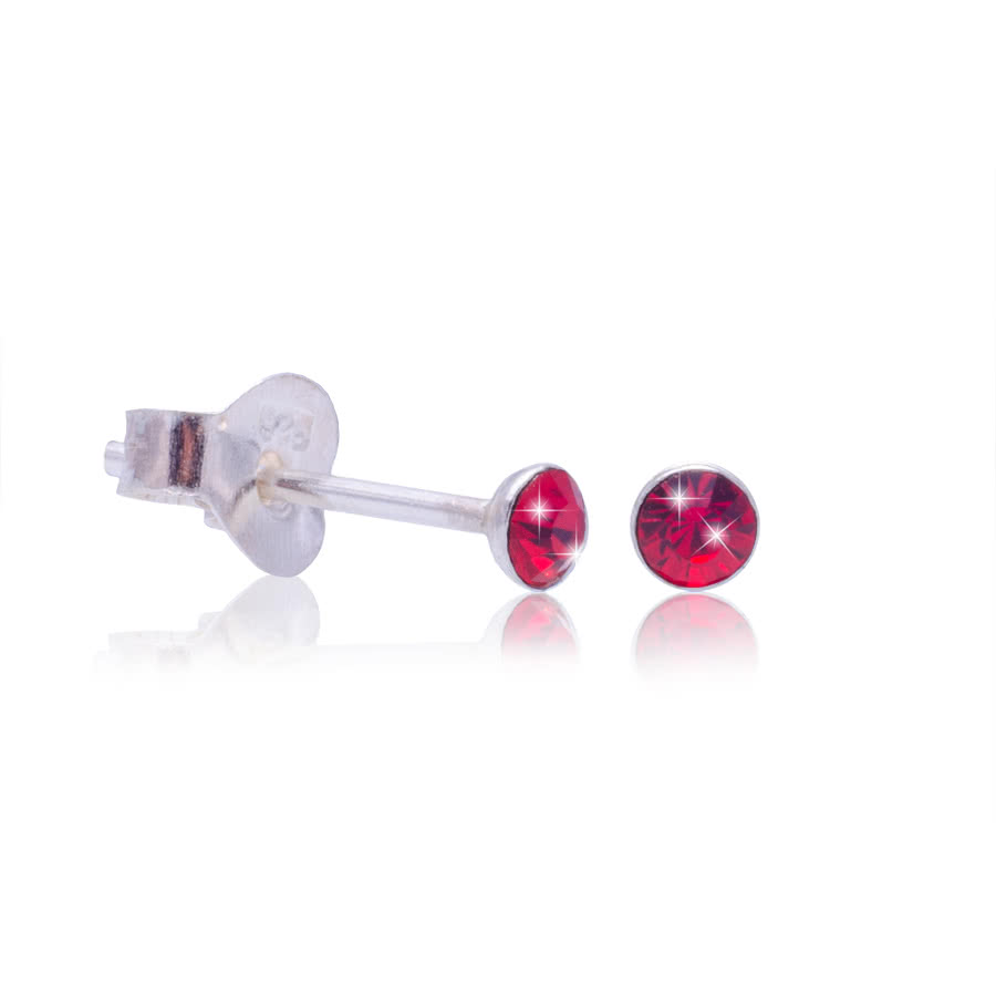 Blue Banana Swarovski Elements July Birthstone Silver Earrings (Red)