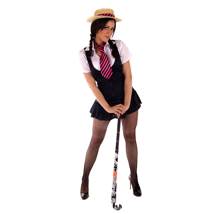 Sexy School Girl Fancy Dress Costume (Black)