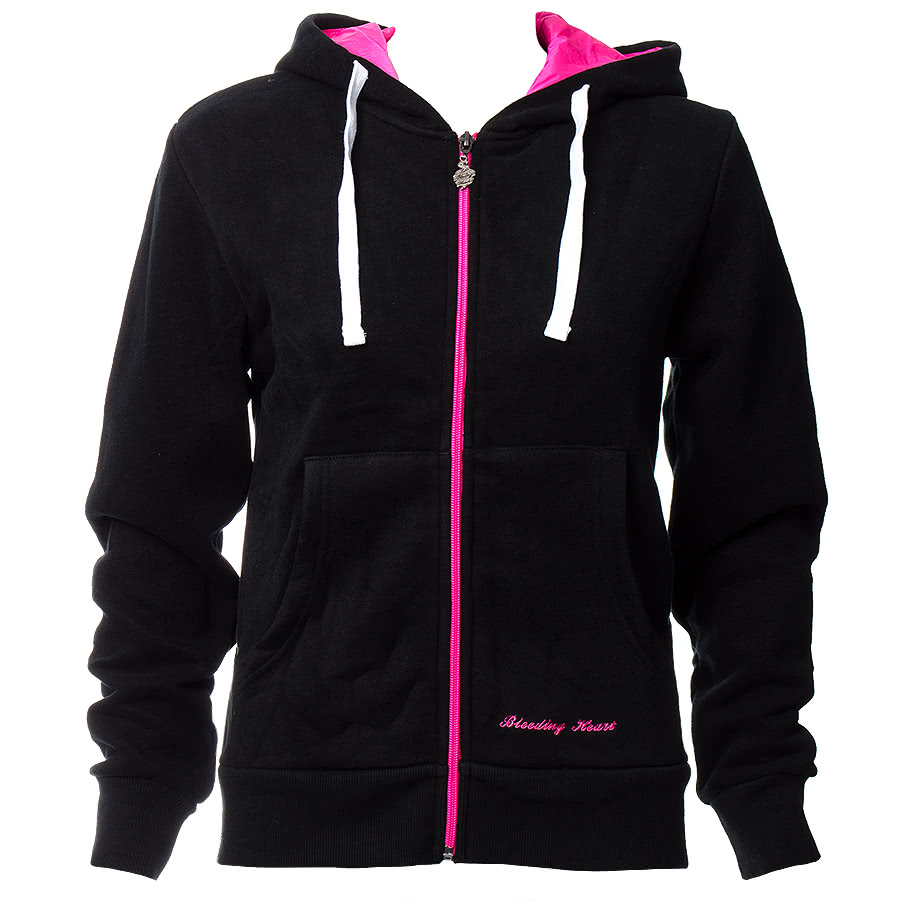 Bleeding Heart Zip Up Skinny Hoodie (Black/Pink)