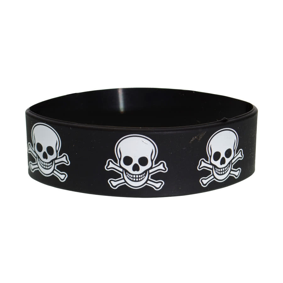 Blue Banana Skull & Bones Wristband (Black/White)