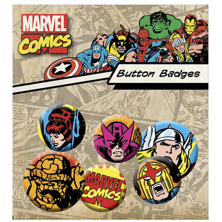 Marvel Comics Superheroes Button Badges