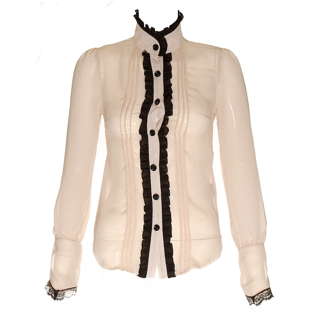 Voodoo Vixen Steampunk Frilly Shirt (Brown/Cream)