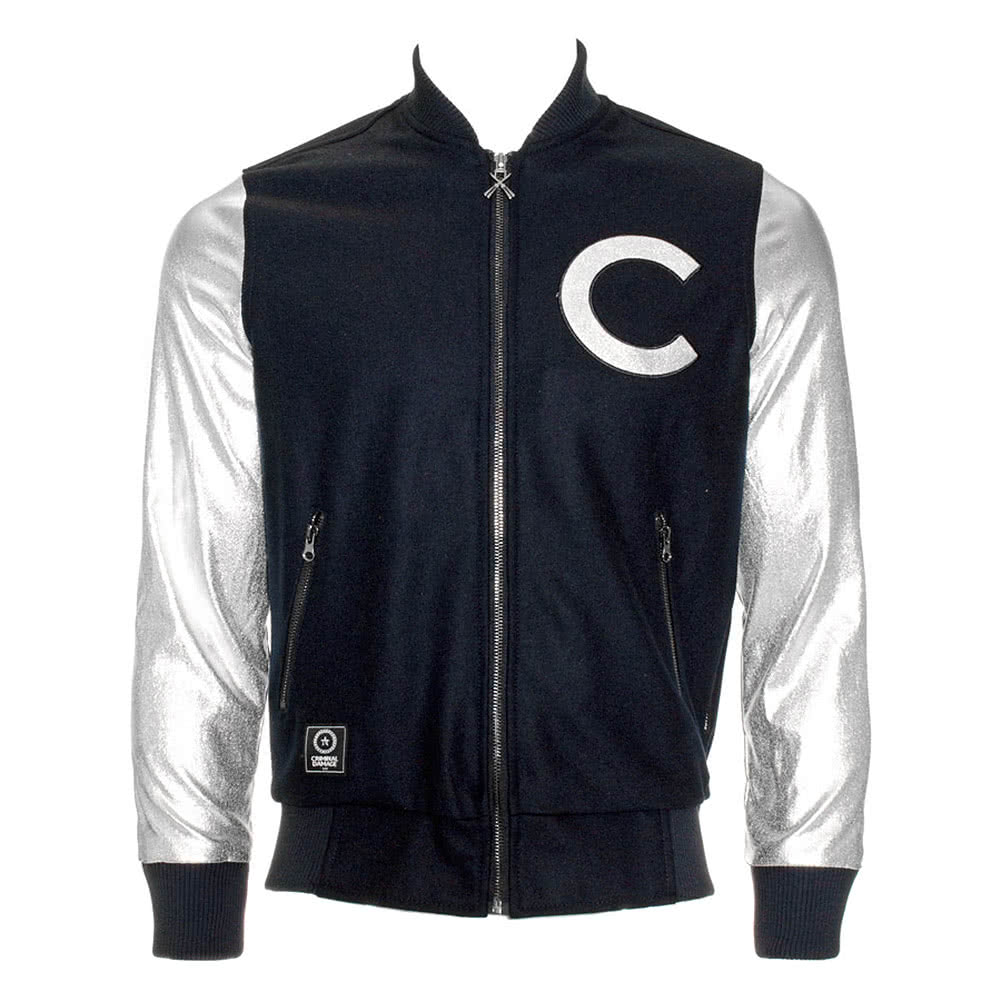 Criminal Damage Stage Letterman Jacket (Navy/Silver)