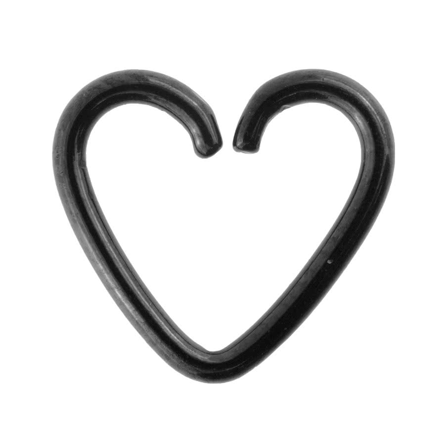 Steel 1.2mm x 10mm Daith Heart Ring (Black)