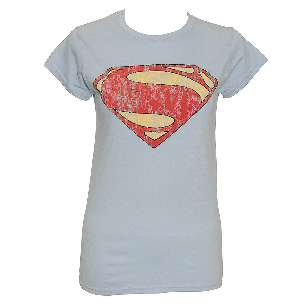 DC Comics Superman Man Of Steel Distressed Logo Skinny T Shirt (Light Blue)