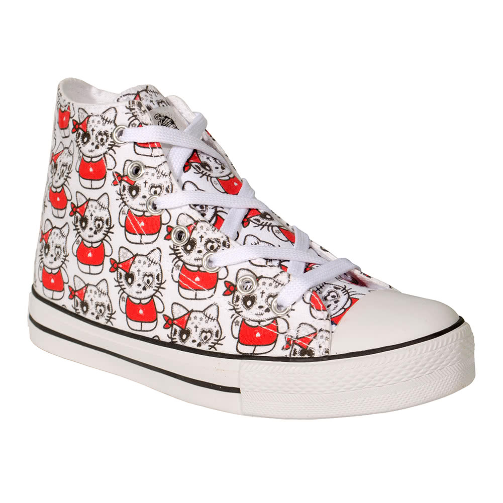 Bleeding Heart Kat Canvas Hi Tops (White)
