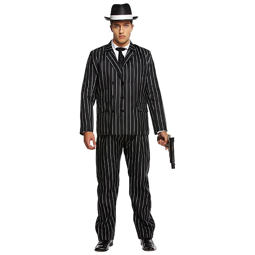 Gangster Fancy Dress Costume (Black)