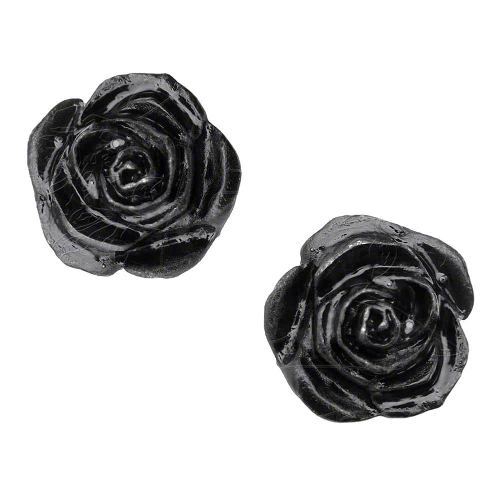 Alchemy Gothic Rose Stud Earrings (Black)