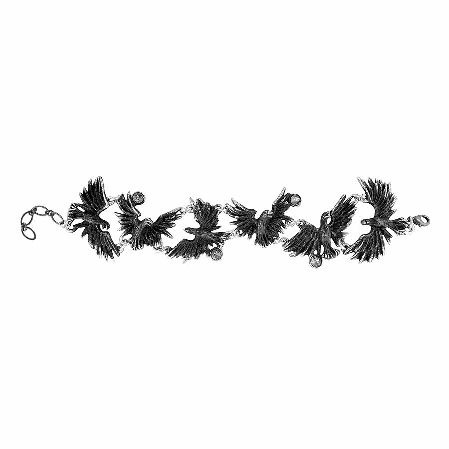 Alchemy Gothic Flocking Ravens Bracelet (Black)