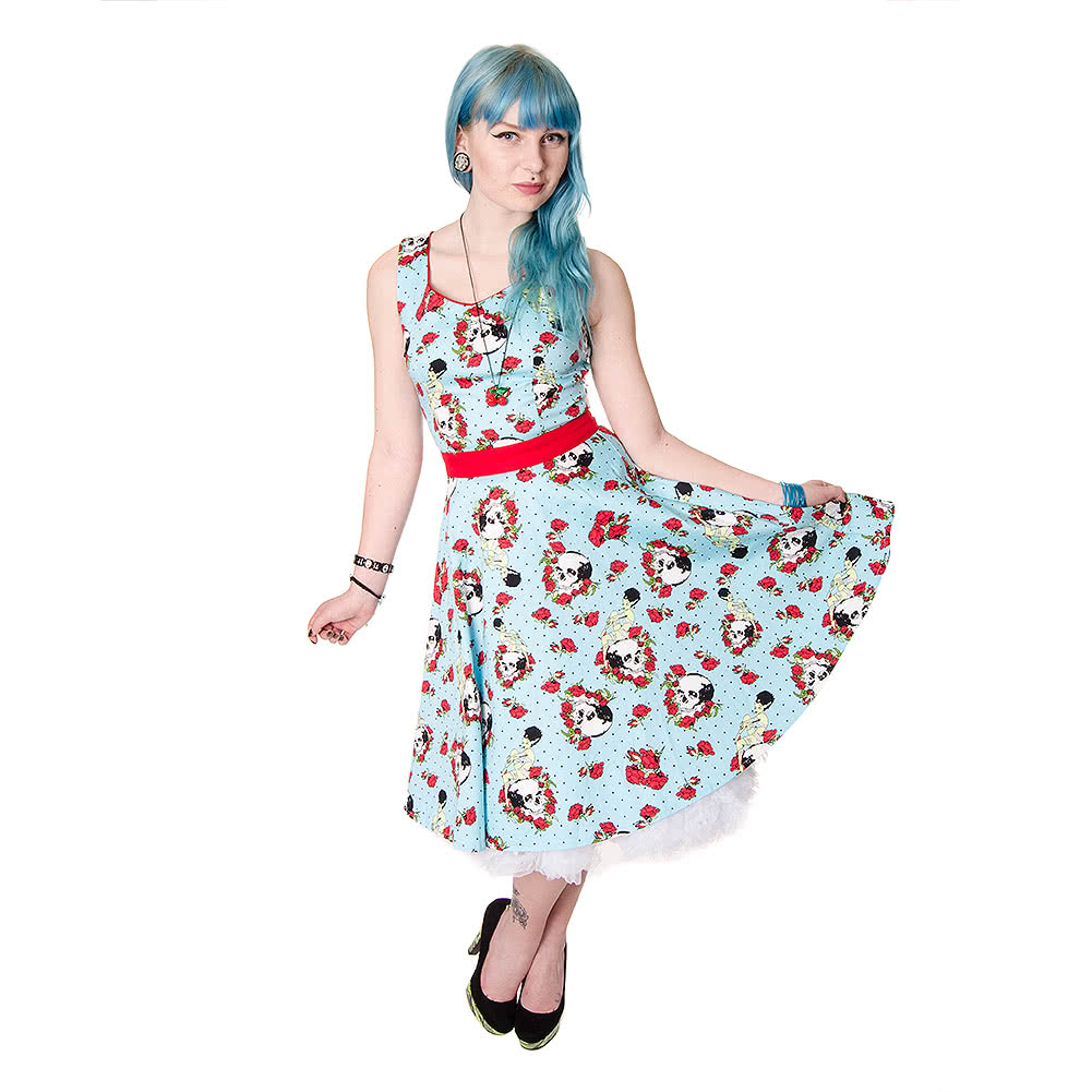 Jawbreaker Skull Rose Dress (Blue)