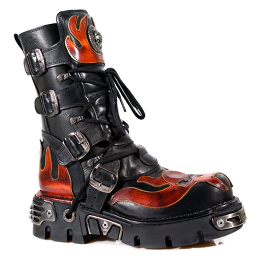New Rock Boots Red Flames Style M107-S1 (Black)