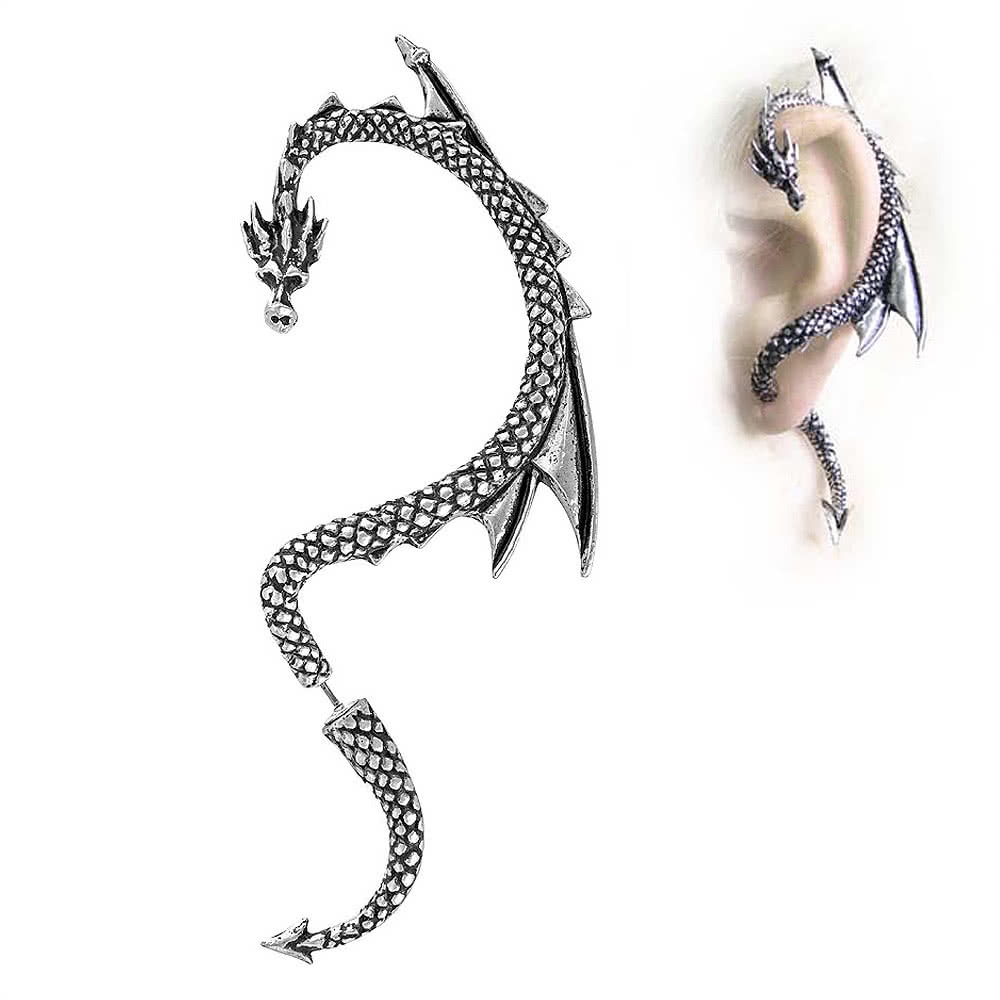 Alchemy Gothic Dragons Lure Left Earring (Silver)