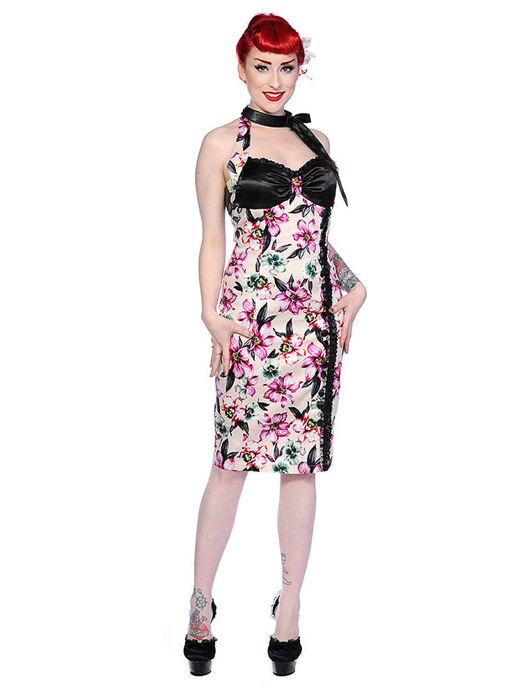Banned Blooms Halterneck Pencil Dress (Purple)