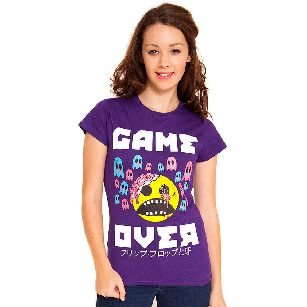 Flip Flop & Fangs Game Over Skinny T Shirt (Purple)