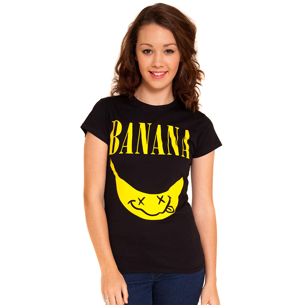 Flip Flop & Fangs Banana Skinny T Shirt (Black)