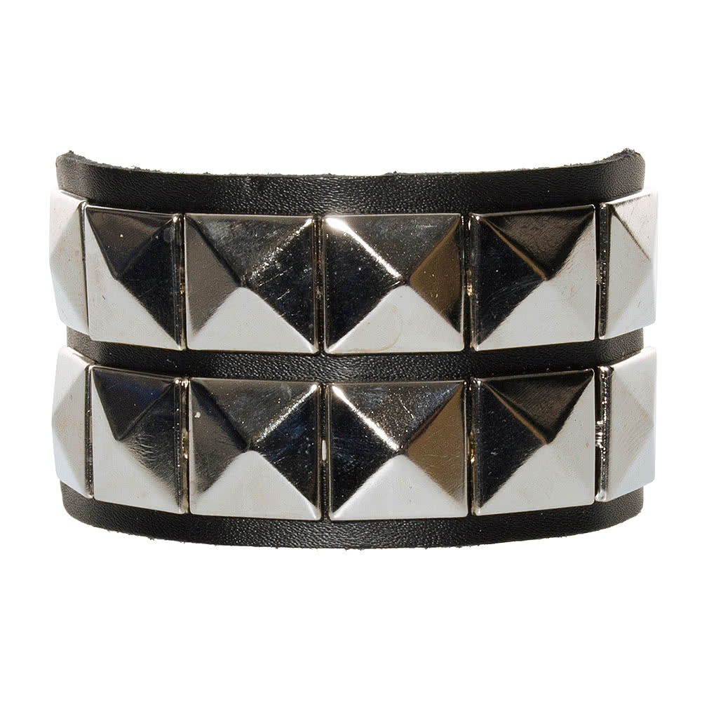 Blue Banana 2 Row Silver Pyramid Studded Wristband (Black)