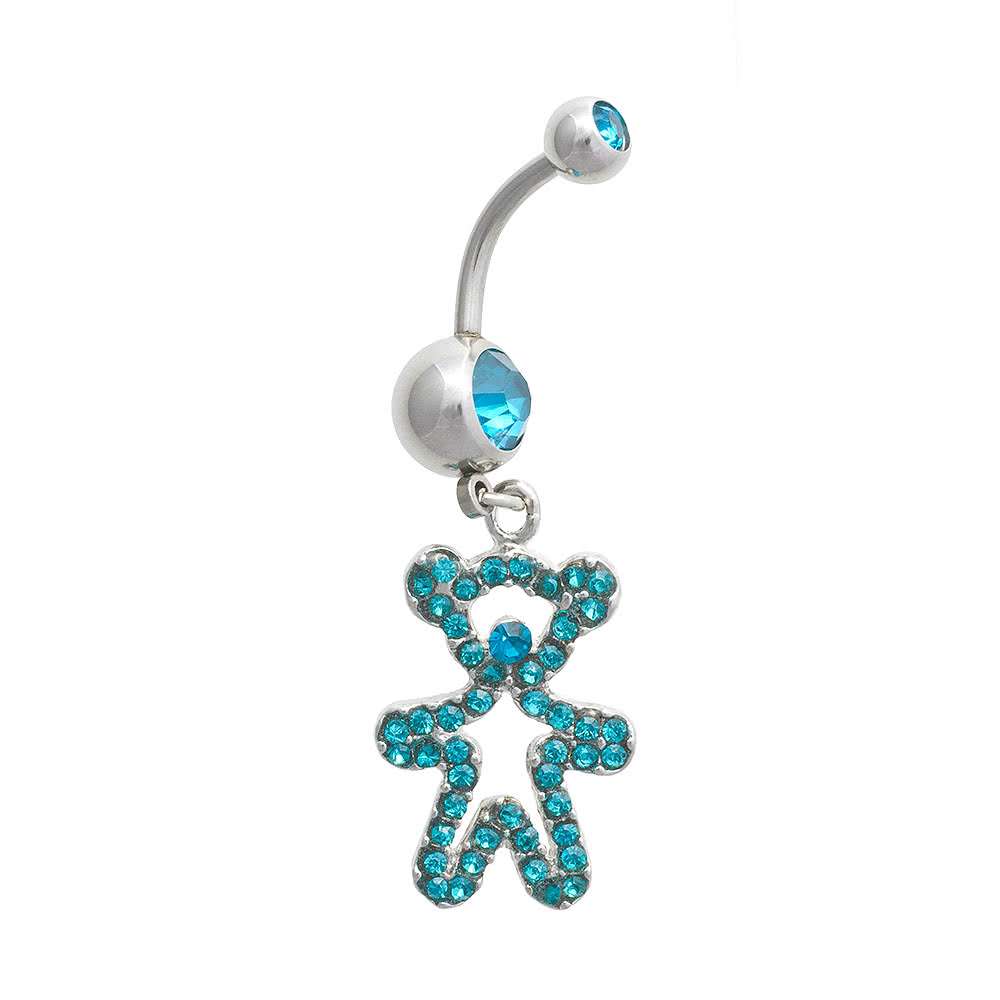 Blue Banana Bear 1.6mm Navel Bar (Zircon)