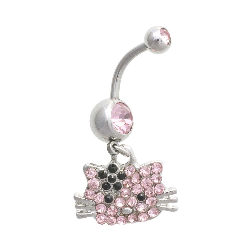 Blue Banana Kitty 1.6mm Navel Bar (Rose)