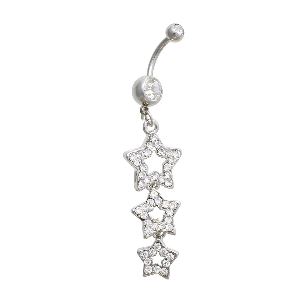 Blue Banana 3 Star Crystal 1.6mm Navel Bar (Crystal)