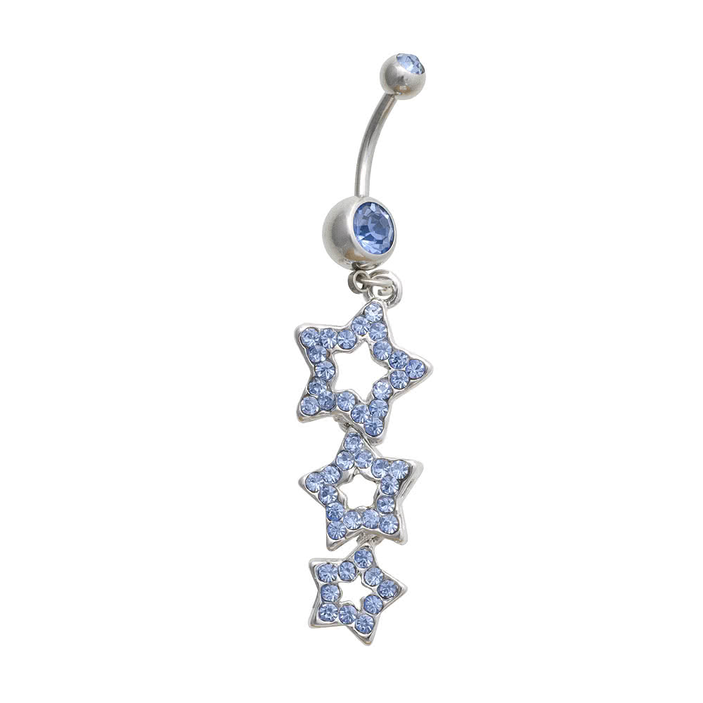 Blue Banana 3 Star Crystal 1.6mm Navel Bar (Blue)