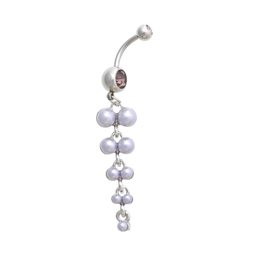 Blue Banana Pearl Cluster 1.6mm Navel Bar (Lilac)