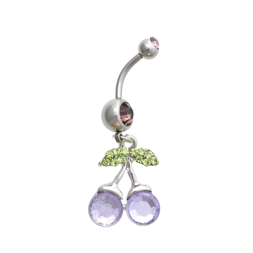 Blue Banana Cherry 1.6mm Navel Bar (Lilac)