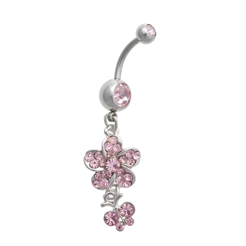 Blue Banana Flower & Small Butterfly Crystal 1.6mm Navel Bar (Pink)
