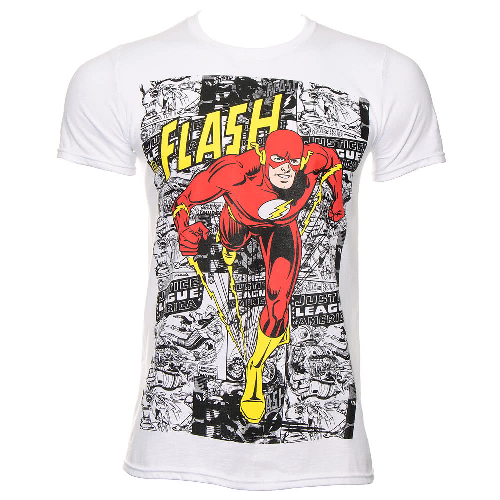 DC Comics The Flash Comic Strip T Shirt (White)