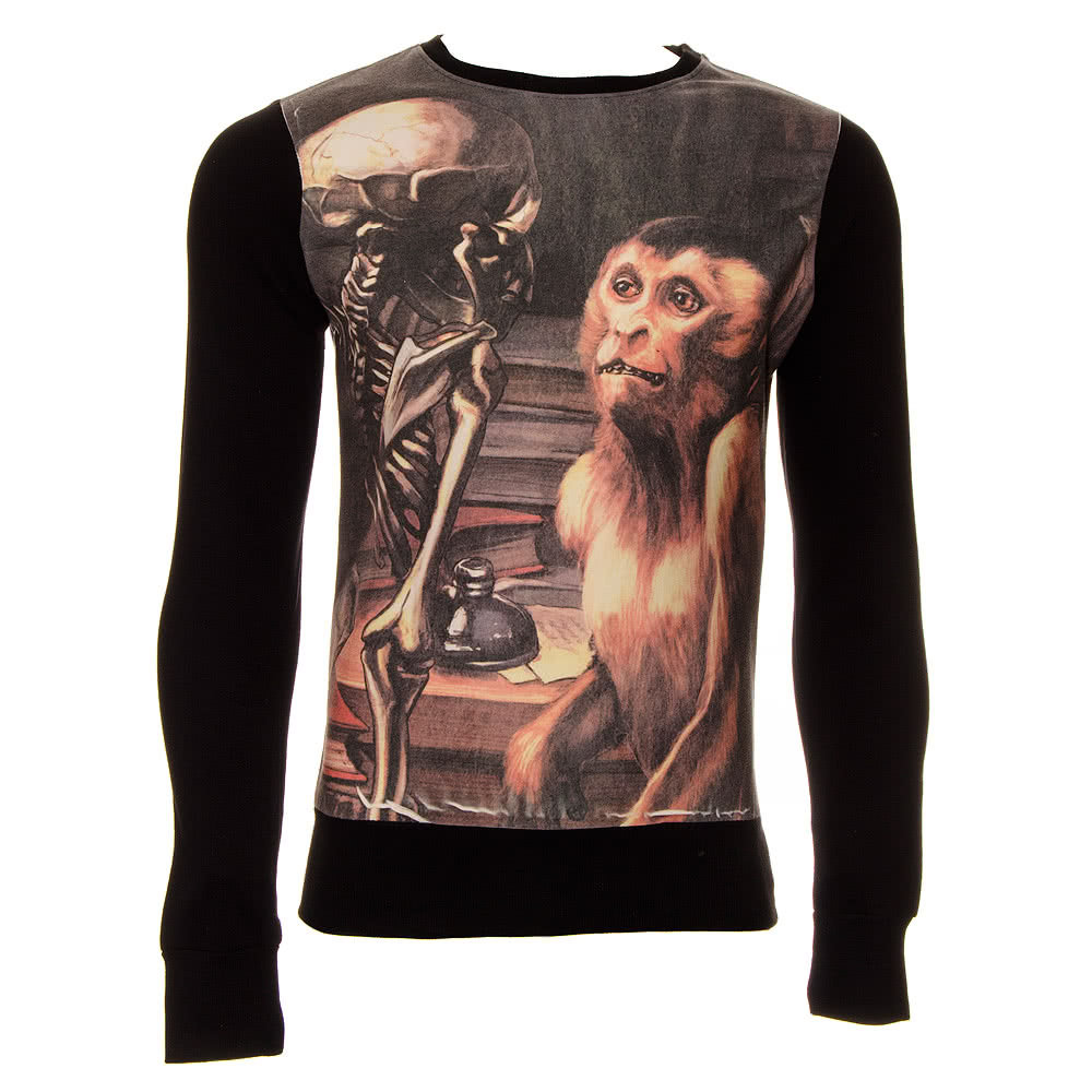 Cold Heart Monkey V Skeleton Sweatshirt (Black)