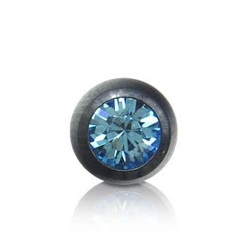 Black Titanium Jewelled 3mm Ball (Aqua)