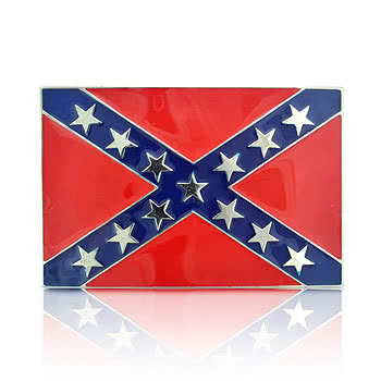 Blue Banana Confederate Flag Belt Buckle (Red/Blue)
