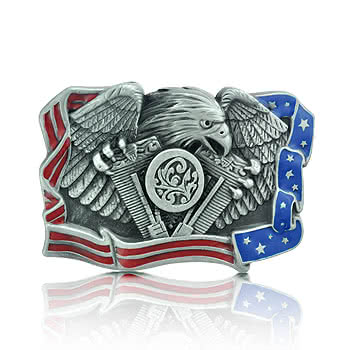 Blue Banana Eagle & Flag Belt Buckle (Grey)